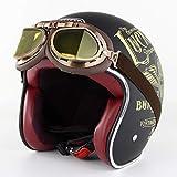 Ye Wang Casco Moto Vintage Aperto-Face Casco Harley Caschi 3/4 Moto Chopper Casco Bici Certificazione D.O.T con Occhiali Harley, Lucky13,M56~57cm