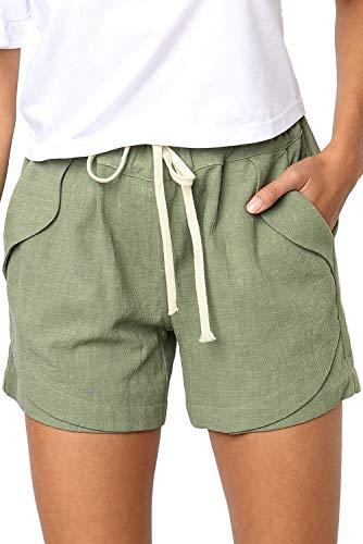 FANGJIN Ladies Cotton Short Shorts Summer Biker Home Clothes 2020 cool Juniors Cute Tops Distressed Beach Comfy Shorts with Pockets Grün XL