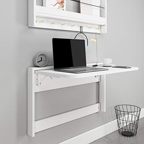 Wall-mounted table Escritorio de computadora Plegable Simple para apartamento pequeño, Escritorio de Estudio de Oficina de Madera Maciza Blanca, para Garaje y cobertizo/Oficina en casa/lavandería