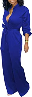 Womens Long Sleeve Jumpsuit Wide Leg Pants Rompers with Belt