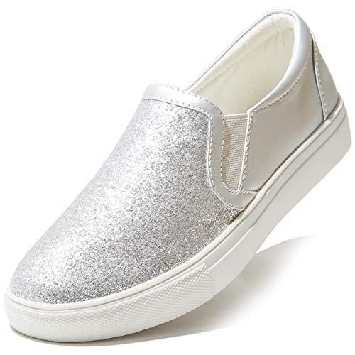 DailyShoes Sneaker zum Reinschlüpfen mit Glitzer, für Damen, klassische quadratische flache Schuhe, flache Schuhe, Ballerinas, flache Schuhe, für Skate-Walking, silberner Glitzer, 6
