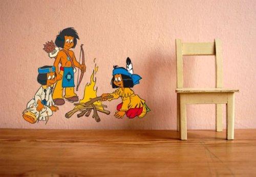 wall-art Wandtattoo - Yakari am Lagerfeuer - Größe: 39x30 cm