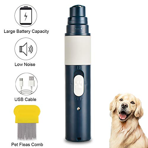 Bucher&Rossini Dog Nail Grinder,Low Noise 2- Speed Rechargeable Pet Nail Trimmer + Flea Comb,Painless Pet Paws File Dog Nail Clippers for Large Medium Small Dogs & Cats Grooming/Smoothing/Trimming