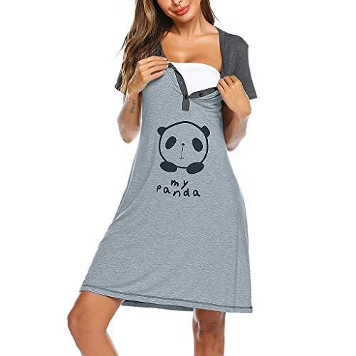 2 in1 Hübsches Stillnachthemd Umstandsnachthemd Nachthemd Damen Bodenlang Geburtshemd Umstandskleid Nachtwäsche Nachtkleid mit Knopfleiste Pflege Kurzarm Knopf für Schwangere und Stillzeit