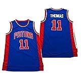 Jersey de Baloncesto Retroceso-Detroit Pistons 11# Isiah Thomas Camisa de Baloncesto con Bordado Retro, Camiseta de Jersey de Baloncesto sin Mangas de Malla Unisex (tamaño: S-XXL)-Blue-XXL(185cm.190