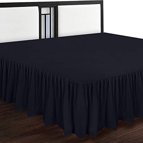 Utopia Bedding Bed Ruffle - Dust Ruffle - Easy Fit with 16 Inch Tailored Drop - Hotel Quality, Shrinkage and Fade Resistant (King, Black)