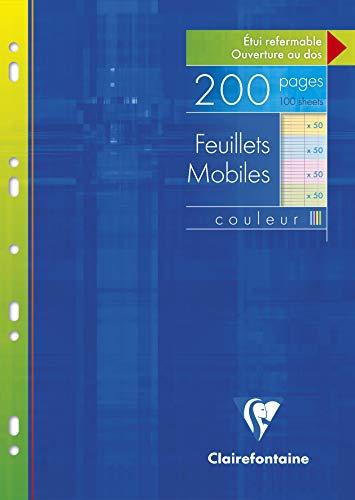 Clairefontaine 17511C - Un étui carton 200 pages Feuillets mobiles perforés 21x29,7cm 90g grands carreaux couleurs assorties (50 pages en jaune, rose, bleu et vert)