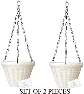 Unique Plastic Hanging Pot with Metal Chain (White, Pack of 2)