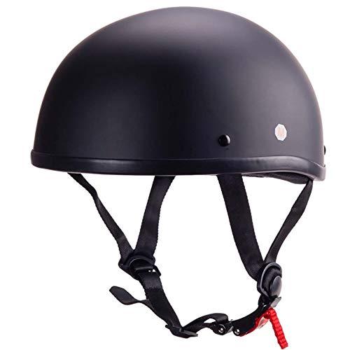 FANGJIA-Helmet Medio Casco de Motocicleta, Casco Abierto Aprobado Dot Gorra de Moto Retro para Ciclomotor Scooter Crucero Helicóptero Monopatín, ATV, Hombres Mujeres Jóvenes (55-62 CM)