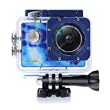 PlayZoom GoCam - Waterproof Kids Action Camera - Underwater Sports Camera with 2' Inch LCD Screen, 1080P HD Video, Built-in Mic and Speaker, Mounting Kit - for Boys and Girls (Blue Tie-Dye)