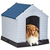 BestPet Dog House Indoor Outdoor Pet Kennel with Air Vents and Elevated Floor Ventilate Waterproof Plastic Dog House,Easy to Assemble