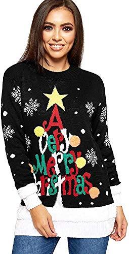 Avacoo Damen Weihnachtspullover Rundhals Winterpulli Neuheit Weihnachten Pullover Strickpullover Weihnachtsbaum Schwarz M