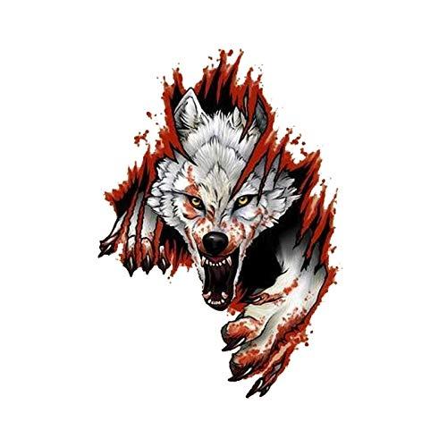 BLOUR Autoaufkleber Lustiger wütender Wolf wasserdichter Aufkleber Fenster-Stiefel-Aufkleber Motorrad-Abdeckungs-Kratzer PVC, 11 cm * 15 cm