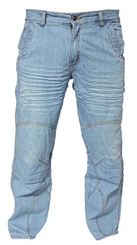 NEWFACELOOK Uomo Motociclo Jeans Motocicletta Moto Denim Pantaloni con Aramide Protezione Blu