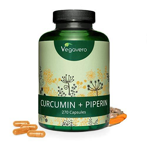 CURCUMA PIPERINA 95% Vegavero | MAXI Confezione: 270 capsule | Brucia grassi e Antinfiammatorio | Vegan