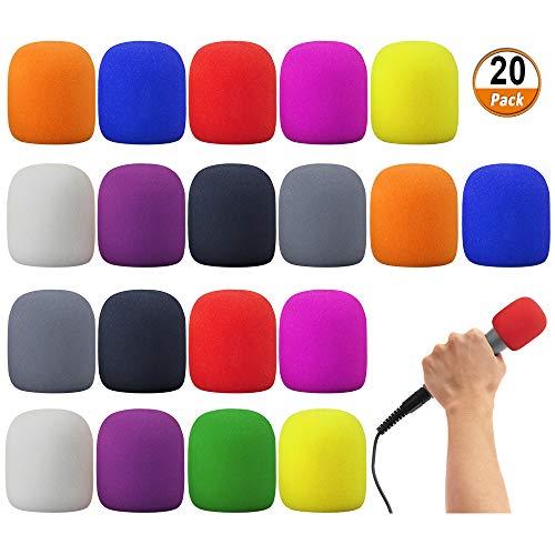 20 Unidades Cubierta de Espuma para Micrófono, Colorido Paravientos Micrófono de Etapa de Mano para Protección de Micrófono, Para Fiesta Discurso y Coro, 10 colores