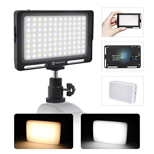 """Moman Faretto-LED-Video-Luce-Reflex con Diffusore, Fillipo LED Fotocamera DSLR 4.7"""" 147g Dimmerabile Bi-Color 3000K- 6500K, TLCI/CRI 96+, Cavo di Tipo-C Incluso, Nero"""