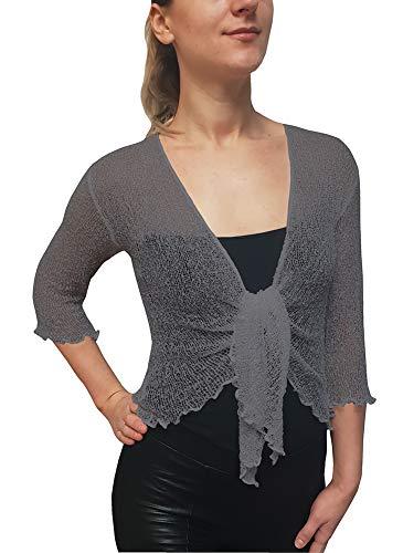 Mimosa Damen Crochet Strecken Fisch-Netz Boleroshrug Mutterschaft Krawatte an der Taille Cardigan (Eine Größe passt DE 34-48, Dark Grey)