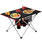 MOVTOTOP Folding Camping Table, 2 Tier Portable Camp Table with Cup Holders and Carrying Bags, Camping Tables That Fold Up Lightweight for Indoor and Outdoor Picnic, Beach, Hiking, Travel, Fishing