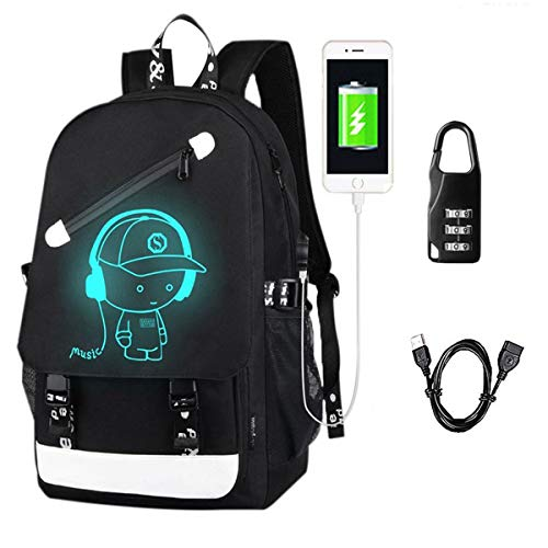 Anime Luminous Backpack Noctilucent School Bags Daypack USB chargeing port Laptop Bag Handbag For Boys Girls Men Women (Music boy 2)