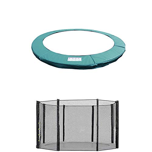 Blümme 14FT Trampoline Replacement Safety Spring Cover Padding Pads + Safety Net KIT Green