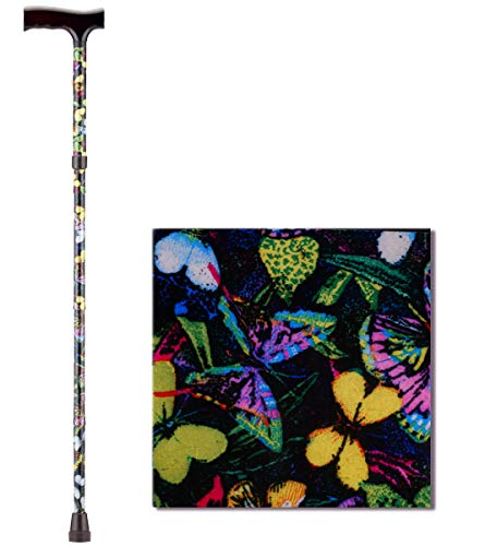 NOVA Folding Walking Cane with Wood Grip Handle Foldable amp Adjustable Travel Cane with Wood Comfort Handle Butterflies