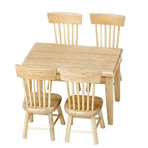 DIYARTS Puppenhaus DIY Holz Set Möbel Dinette Puppenstuben Mini Stuhl Tisch Modell Platz Dinette Taschen Spielzeug