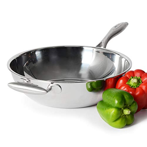 ProCook Elite Tri-Ply - Grand Wok Compatible Induction - 28cm - Inox Triple Couche 18 10 - Manche Isolant