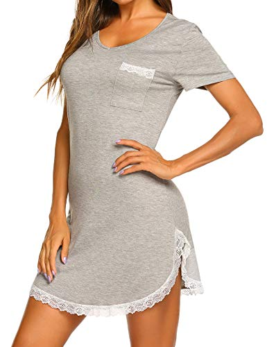 MAXMODA Koszula nocna damska koszula do spania sukienka nocna z krótkim rękawem seksowna koszulka do spania S-XXL