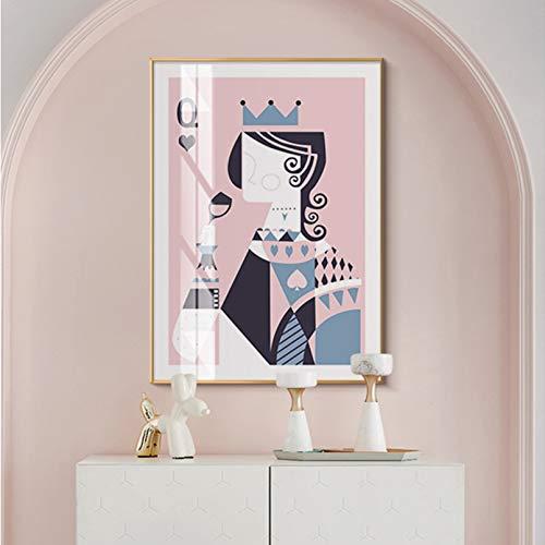 N/A Tarjeta De Póquer Abstracta King Queen Drinking Canvas Painting Wall Art Posters Print Gallery Picture Sala De Estar Interior Decoración del Hogar