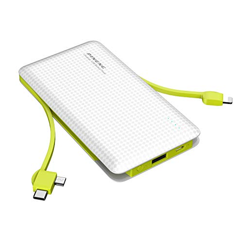 Power Bank 10000mah Portable External Cell Phone Li-Polymer Batterys 1 Input and 3 Output,USB C and Micro USB Compatible with iPhone Android (White)