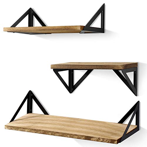 BAYKA Floating Shelves Wall Mounted, Rustic Wood Wall Shelves Set of 3 -
