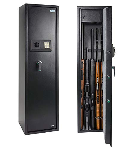 Rifle Safe Gun Safe Quick Access 5-Gun Shotgun Cabinet (Biometric/Digital) (Large Gun Safe-Digital)