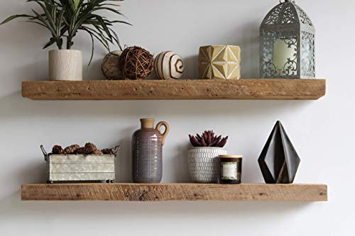 """Urban Legacy Reclaimed Barnwood Floating Shelves - Set of 2 - Amish Made in Lancaster County, PA (Natural, 40""""x7""""x 2"""")"""