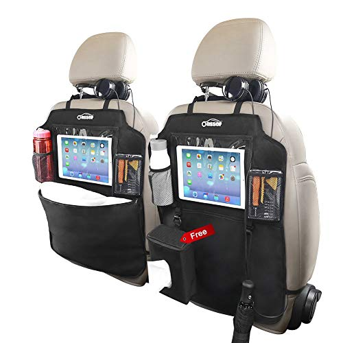 """An image of the oasser 2PCS Kick Mats Car Organisers Waterproof Seat Back Protectors with 10"""" iPad Tablet Touch Screen Holder Multi Pockets Including Tissue Box"""