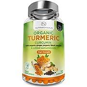 Organic Turmeric with ADDED Curcuminoids, Organic Ginger & Organic Black Pepper | Very High Potency | 120 Veg Capsules | Certified Organic, non GMO