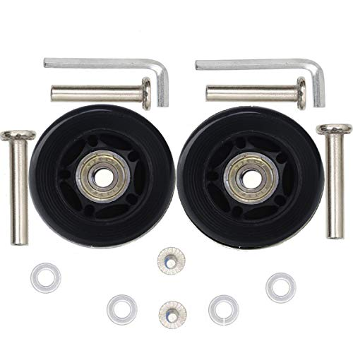 ORO 1 Pair Luggage Wheels Replacement 64mm Case Wheels with 8mm(0.31 ) Bearings Wheels for Suitcase and Inline Outdoor Skate and Caster Board (6418)
