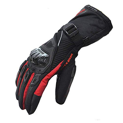 kemimoto Winter Motorcycle Gloves, Warm Waterproof Motorbike Gloves with Hard Knuckle Protection Gloves for Winter Riding, ATV, Scooter, Snowmobile - Red, Large
