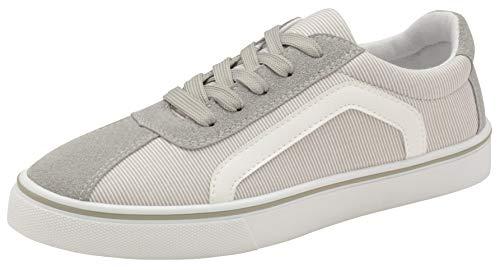 Damen Canvas Sneaker Schnürschuhe Casual Plimsolls Memory Foam Fashion Skater Schuhe Sneakers, - Graue Streifen - Größe: 41 EU