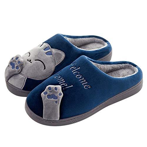 Sxuefang Zapatillas, Zapatillas de algodón Bolsa de Invierno Interior con Pareja Linda Caricatura Gatito señora más Terciopelo Antideslizante Suave Fondo Zapatos de algodón