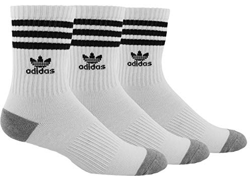 adidas Originals Youth Kids-Boy's/Girl's Roller Crew Sock (3-Pair), White/Black White/Black White/Black, Large, (Shoe Size 3Y-9)