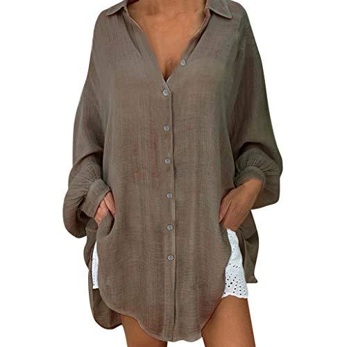 FRAUIT dames linnen blouses lange mouwen katoen linnen blousebovenstuk met gesp grote maten zomer vrouwen meisjes vrije tijd tuniek bovenstuk locker overhemd shirts