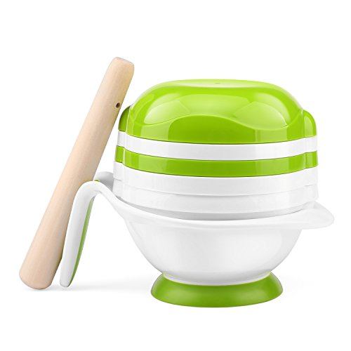 Zooawa Baby Food Making Set, Feed Grinding Schlüssel Stampfer Fresh Essen Gemüse Obst Pürieren Brei Teller mit Saugnapf für Säugling Kleinkinder, Weiß