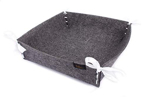 Pequeña cesta de pan de fieltro en color gris oscuro, aprox. 18 x 18 cm, moderno diseño cuadrado/cuadrado, lavable y plegable, incluye 3 x 4 cintas en plata, azul claro y rosa, ideal para desa