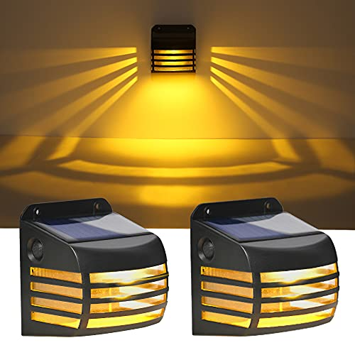 Solar Deck Lights, Solar Powered Fence Lights Outdoor, LED Outdoor Garden Decorative Waterproof Wireless Fence Post Solar Lights for Automatic Decorative Patio ,Wall, Yard, Deck (2PCS Warm)