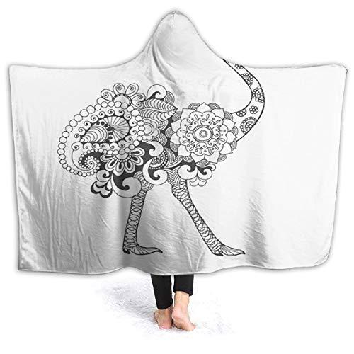 2021 Super Soft Hooded Blanket,Ornamental Ethnic Bohemian Wild African Safari Bird Totem Tribal Tattoo Artfor Adult Wearable Beach Towel with Hood Microfiber (31.8x51.5 inch)
