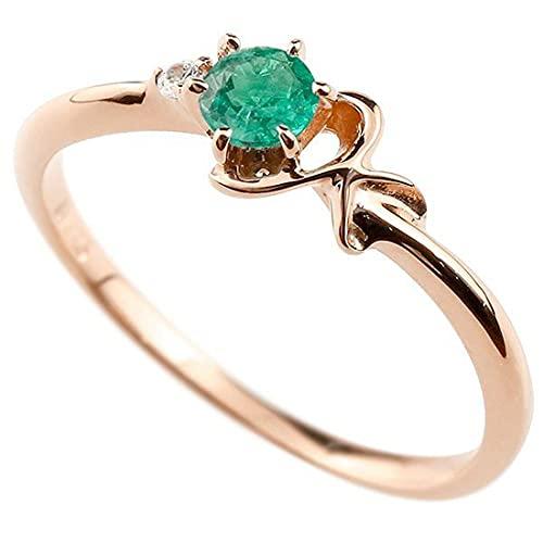 [アトラス]Atrus 指輪 レディース 10金 ピンクゴールドk10 エメラルド ダイヤモンド イニシャル ネーム K ピンキーリング 華奢 アルファベット 5月誕生石 1号