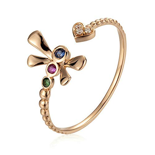 AueDsa Ring Rose Gold 18K Rose Gold Engagement Rings for Women Heart and Dragonfly Ring with Diamond Ring Size P 1/2