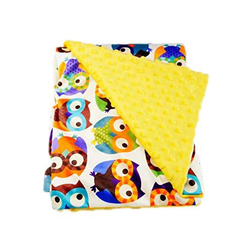 G-Tree Super Soft bébé imprimé Couverture Mink Nursery en coton bio avec Backing Dotted en peluche Velboa Tissu, Hibou jaune 30\