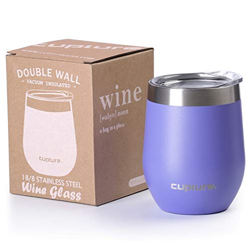 Cupture Stemless Wine Glasses 12 oz Vacuum Insulated Tumbler with Lids - 18/8 Stainless Steel (Ultra Violet) -  dsw12-1pr